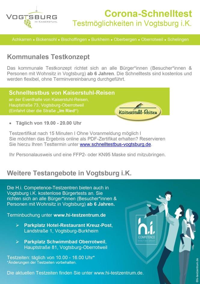 Testmöglichkeiten in Vogtsburg i.K._ Stand 2.9.2021